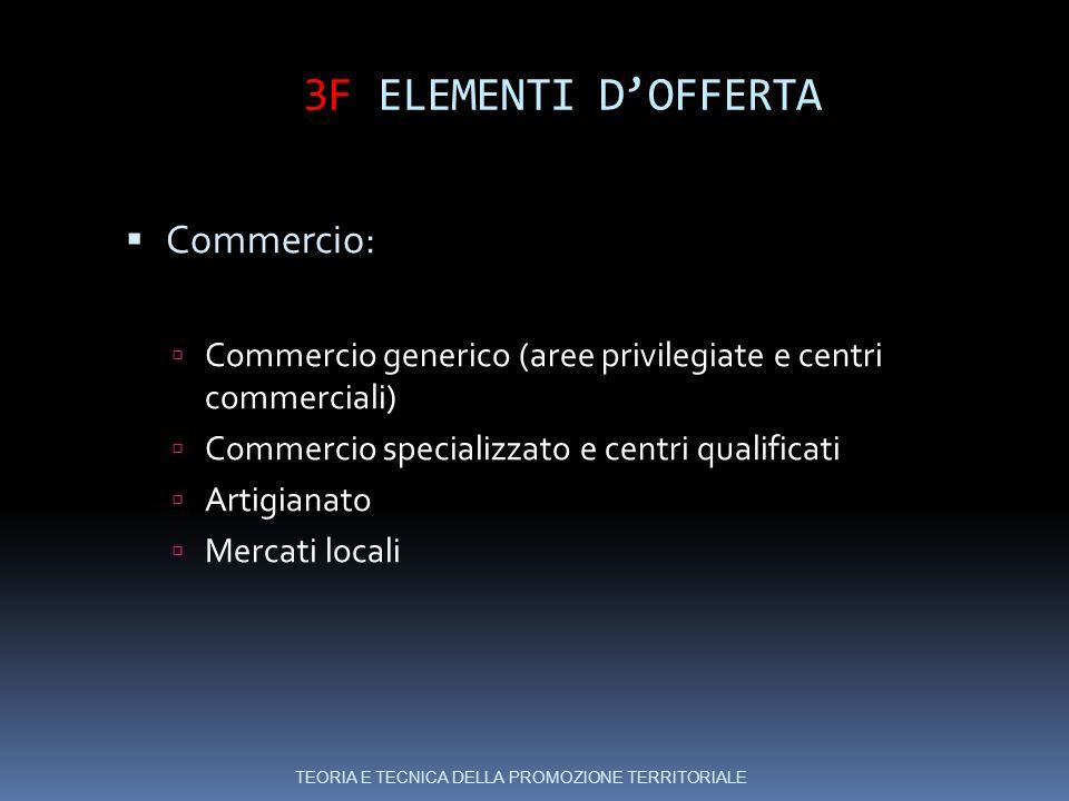 3F ELEMENTI D'OFFERTA  Commercio:  Commercio generico (aree privilegiate e centri commerciali)  Commercio specializzato e centri qualificati  Artigianato  Mercati locali TEORIA E TECNICA DELLA PROMOZIONE TERRITORIALE