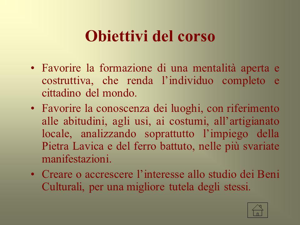 Obiettivi del corso Favorire la formazione di una mentalità aperta e costruttiva, che renda l'individuo completo e cittadino del mondo. Favorire la co