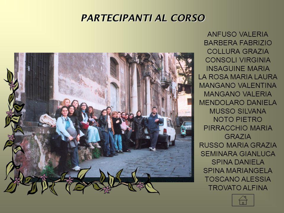PARTECIPANTI AL CORSO ANFUSO VALERIA BARBERA FABRIZIO COLLURA GRAZIA CONSOLI VIRGINIA INSAGUINE MARIA LA ROSA MARIA LAURA MANGANO VALENTINA MANGANO VA