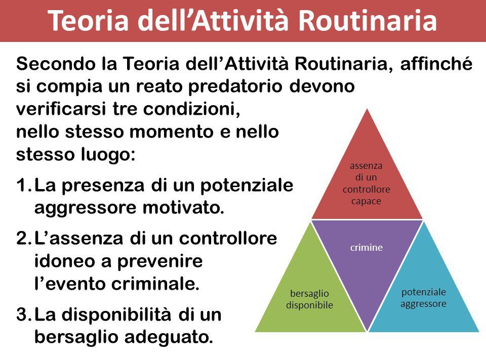 Secondo la Teoria dell'Attività Routinaria, affinché si compia un reato predatorio devono verificarsi tre condizioni, nello stesso momento e nello ste