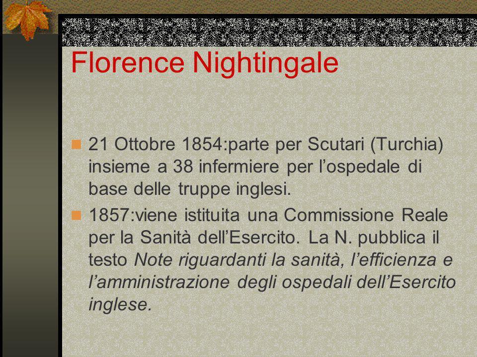 Florence Nightingale 1859:scrisse Notes of nursing.