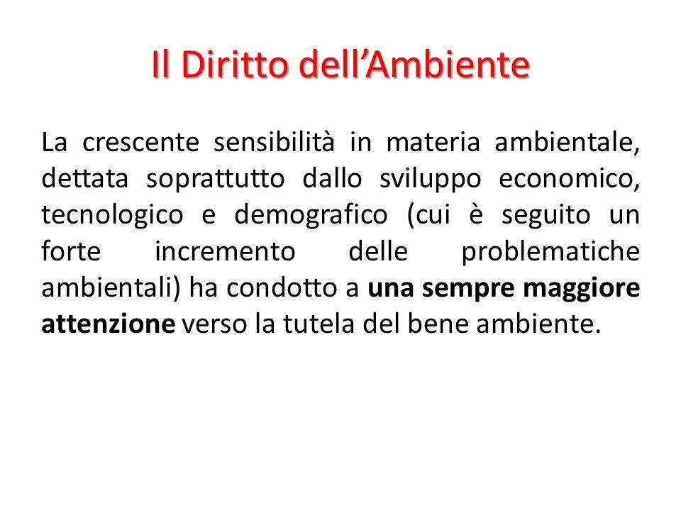 Il Diritto dell'Ambiente La crescente sensibilità in materia ambientale, dettata soprattutto dallo sviluppo economico, tecnologico e demografico (cui