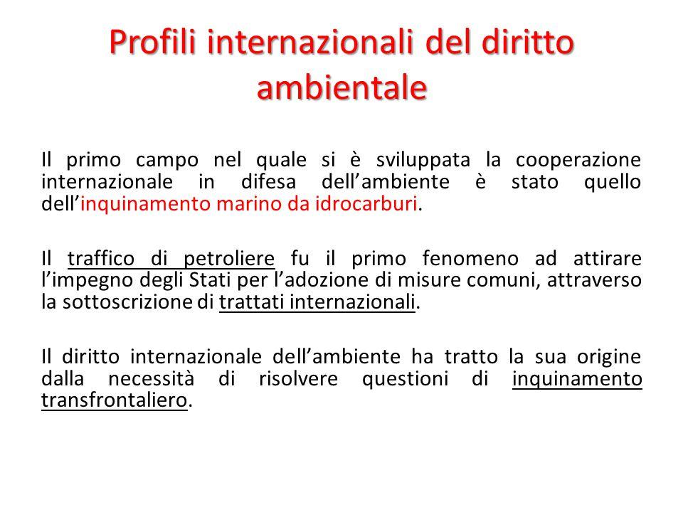 Profili internazionali del diritto ambientale Il primo campo nel quale si è sviluppata la cooperazione internazionale in difesa dell'ambiente è stato