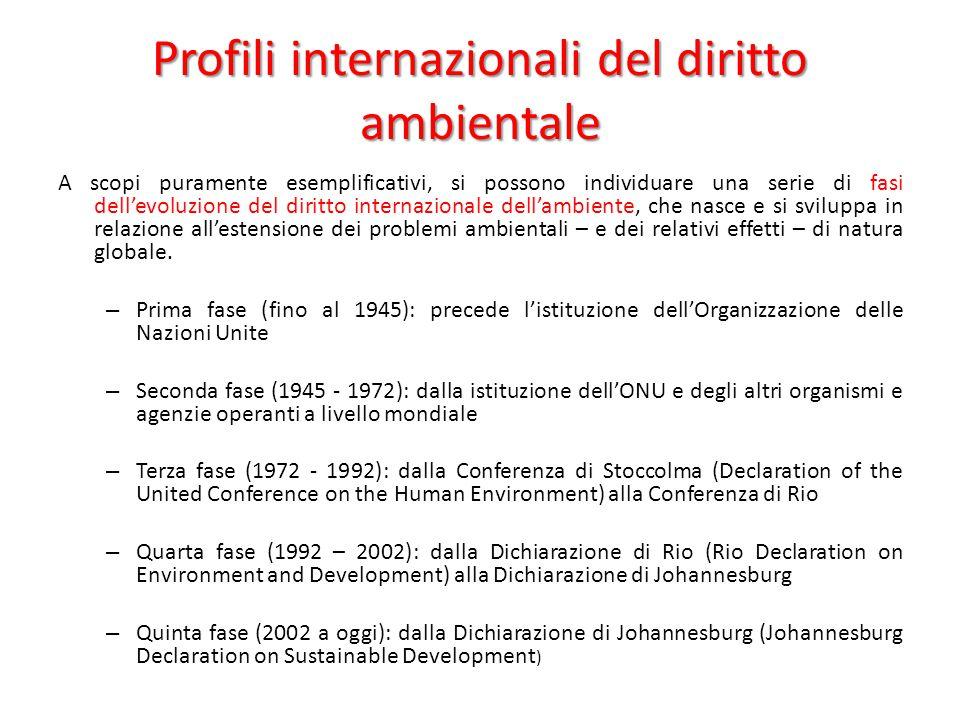 Profili internazionali del diritto ambientale A scopi puramente esemplificativi, si possono individuare una serie di fasi dell'evoluzione del diritto