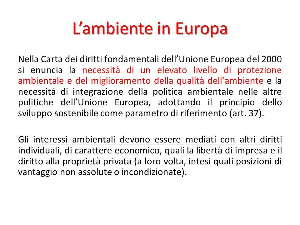 L'ambiente in Europa Nella Carta dei diritti fondamentali dell'Unione Europea del 2000 si enuncia la necessità di un elevato livello di protezione amb