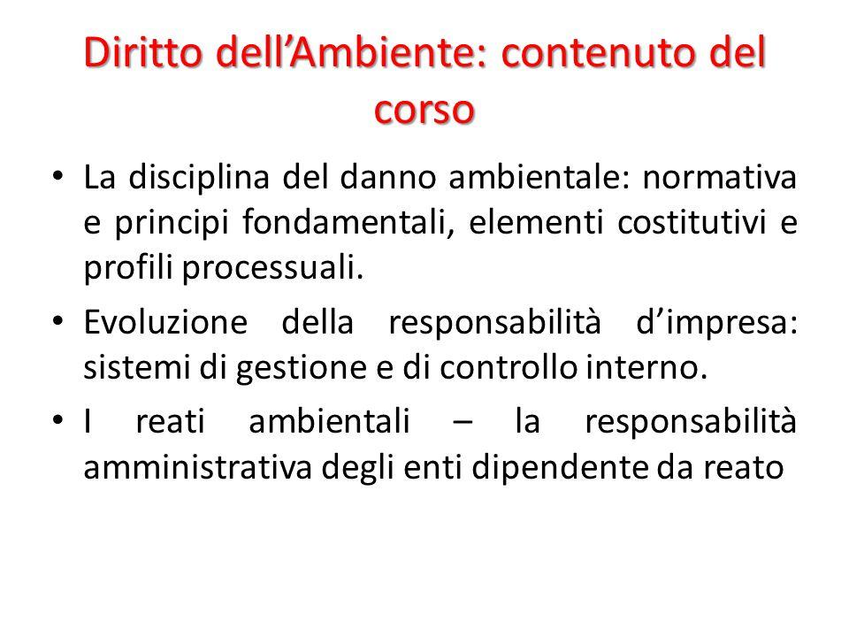Diritto dell'Ambiente: contenuto del corso La disciplina del danno ambientale: normativa e principi fondamentali, elementi costitutivi e profili proce