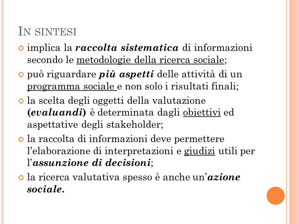 I N SINTESI implica la raccolta sistematica di informazioni secondo le metodologie della ricerca sociale; può riguardare più aspetti delle attività di
