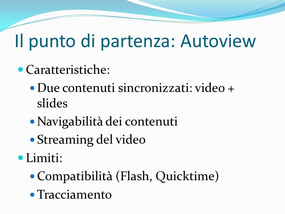 Caratteristiche: Due contenuti sincronizzati: video + slides Navigabilità dei contenuti Streaming del video Limiti: Compatibilità (Flash, Quicktime) T