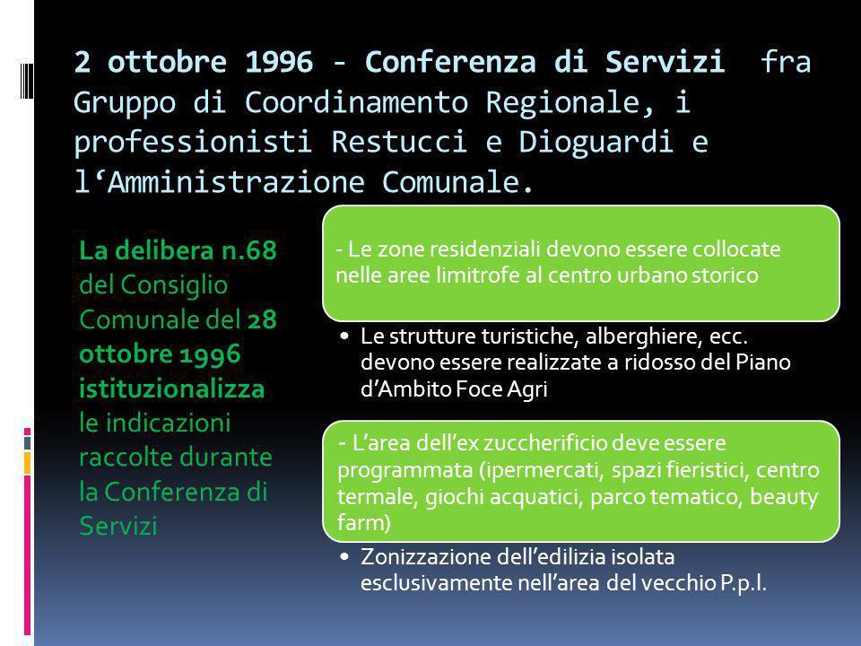 2 ottobre 1996 - Conferenza di Servizi fra Gruppo di Coordinamento Regionale, i professionisti Restucci e Dioguardi e l'Amministrazione Comunale. La d