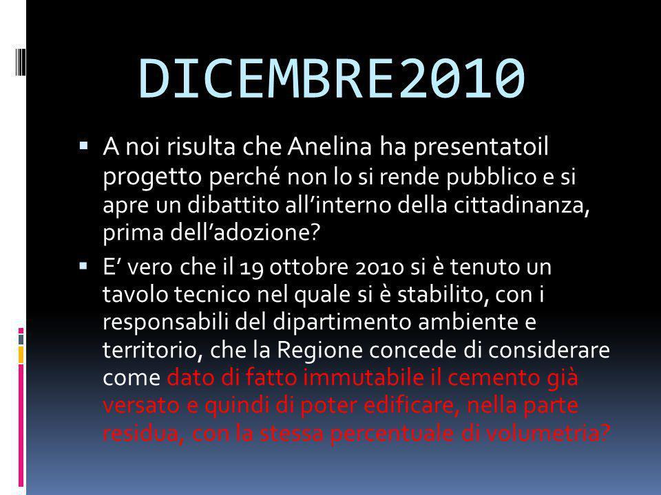 DICEMBRE2010  A noi risulta che Anelina ha presentatoil progetto p erché non lo si rende pubblico e si apre un dibattito all'interno della cittadinan