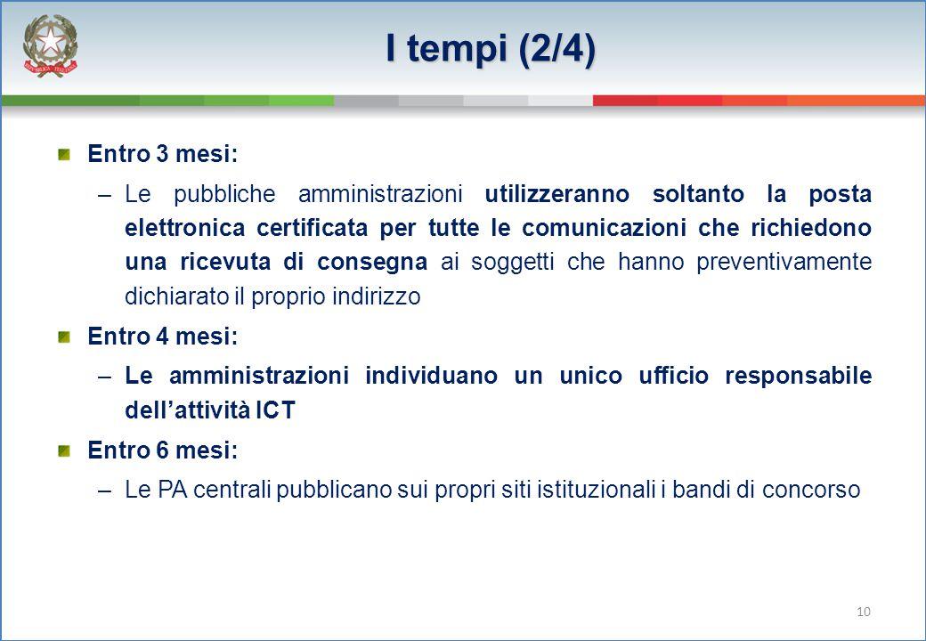 I tempi (2/4) Entro 3 mesi: –Le pubbliche amministrazioni utilizzeranno soltanto la posta elettronica certificata per tutte le comunicazioni che richi