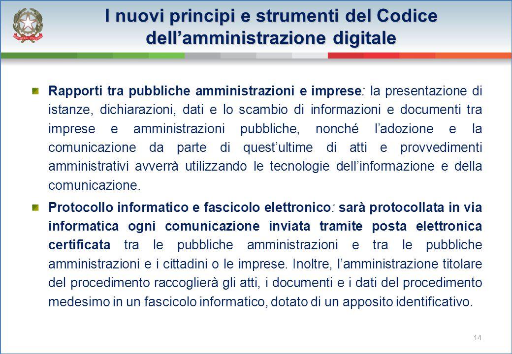 I nuovi principi e strumenti del Codice dell'amministrazione digitale Rapporti tra pubbliche amministrazioni e imprese: la presentazione di istanze, d