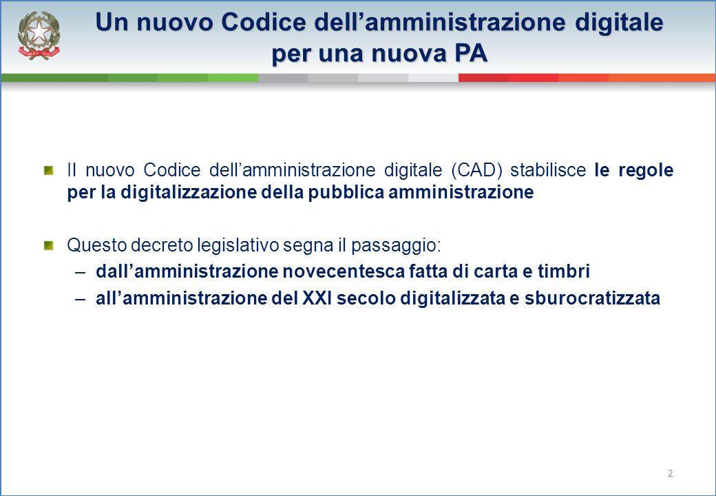2 Un nuovo Codice dell'amministrazione digitale per una nuova PA Il nuovo Codice dell'amministrazione digitale (CAD) stabilisce le regole per la digit