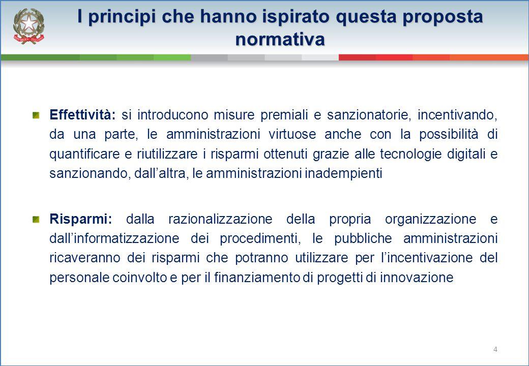 I principi che hanno ispirato questa proposta normativa Effettività: si introducono misure premiali e sanzionatorie, incentivando, da una parte, le am