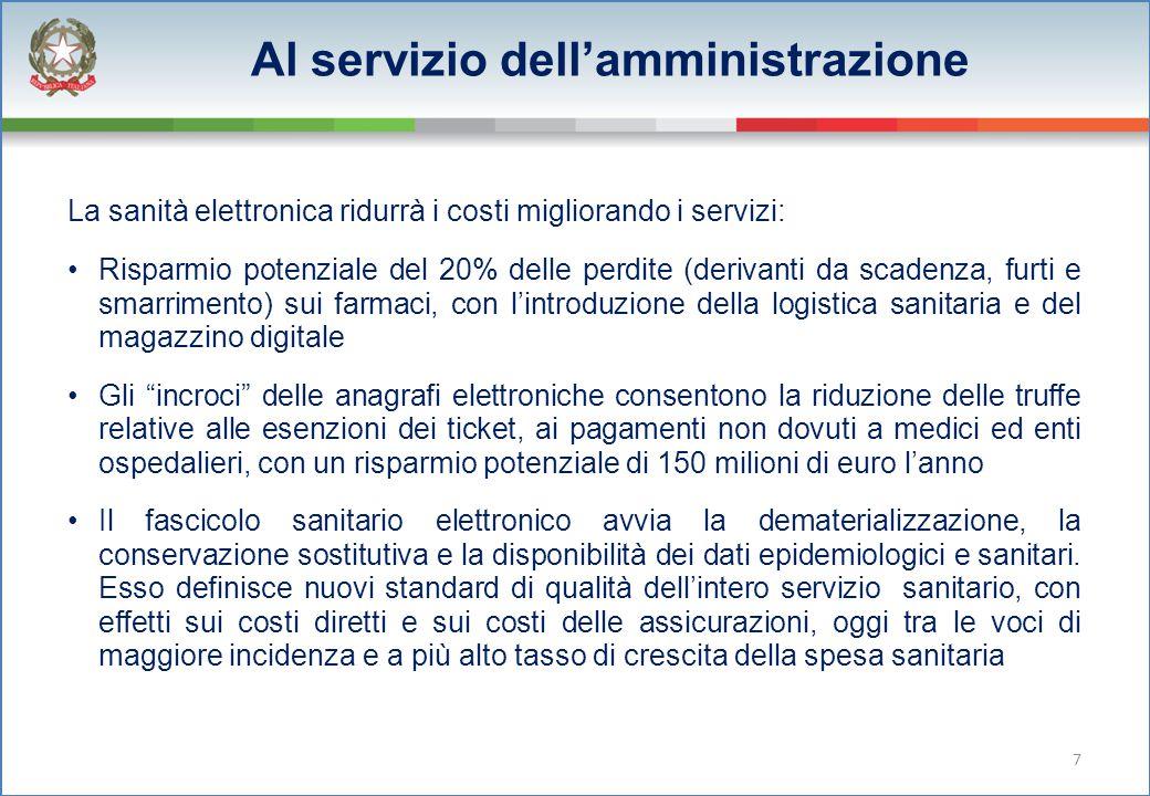Al servizio dell'amministrazione La sanità elettronica ridurrà i costi migliorando i servizi: Risparmio potenziale del 20% delle perdite (derivanti da