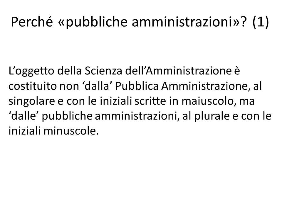 Perché «pubbliche amministrazioni»? (1) L'oggetto della Scienza dell'Amministrazione è costituito non 'dalla' Pubblica Amministrazione, al singolare e
