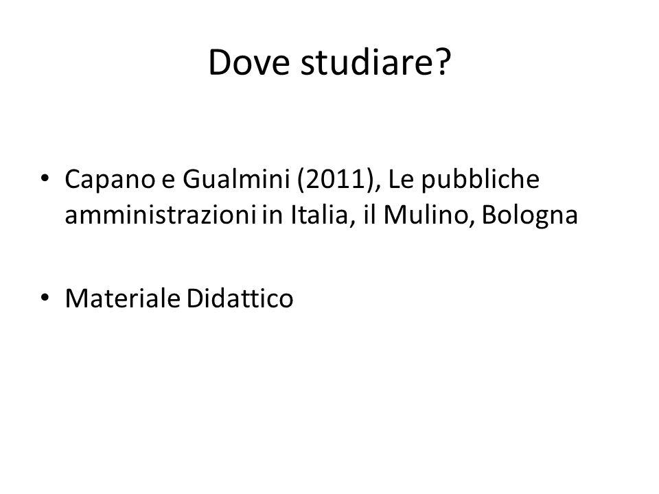 Dove studiare? Capano e Gualmini (2011), Le pubbliche amministrazioni in Italia, il Mulino, Bologna Materiale Didattico