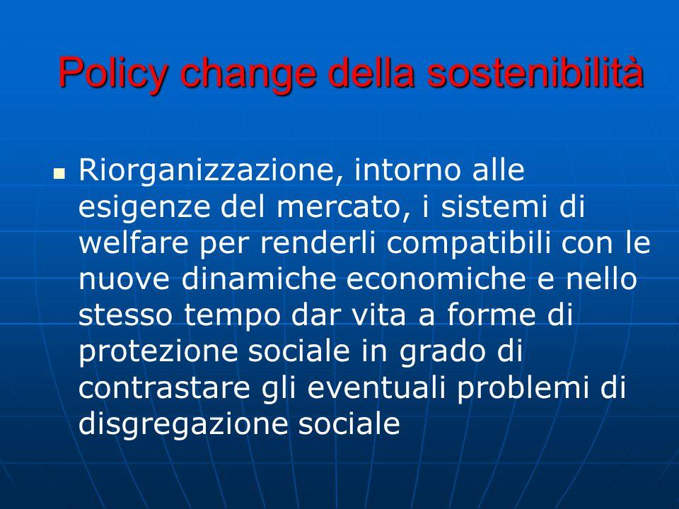 Policy change della sostenibilità Riorganizzazione, intorno alle esigenze del mercato, i sistemi di welfare per renderli compatibili con le nuove dinamiche economiche e nello stesso tempo dar vita a forme di protezione sociale in grado di contrastare gli eventuali problemi di disgregazione sociale