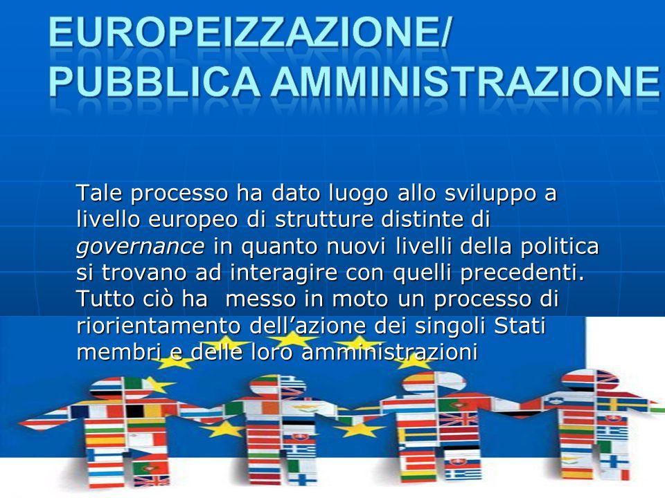 Tale processo ha dato luogo allo sviluppo a livello europeo di strutture distinte di governance in quanto nuovi livelli della politica si trovano ad interagire con quelli precedenti.