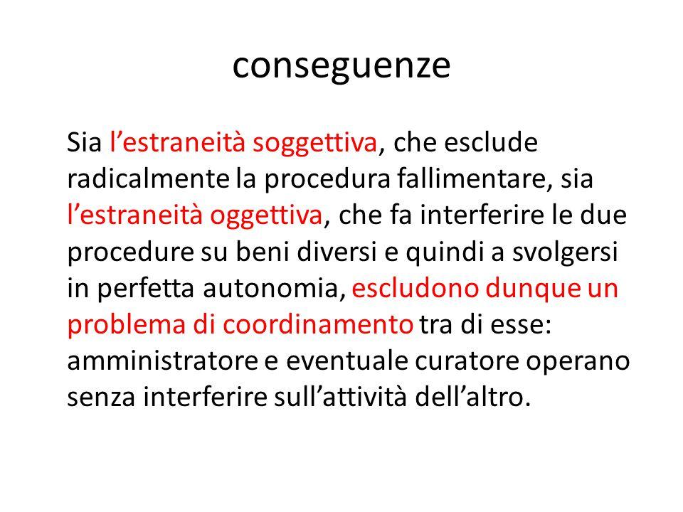 conseguenze Sia l'estraneità soggettiva, che esclude radicalmente la procedura fallimentare, sia l'estraneità oggettiva, che fa interferire le due pro