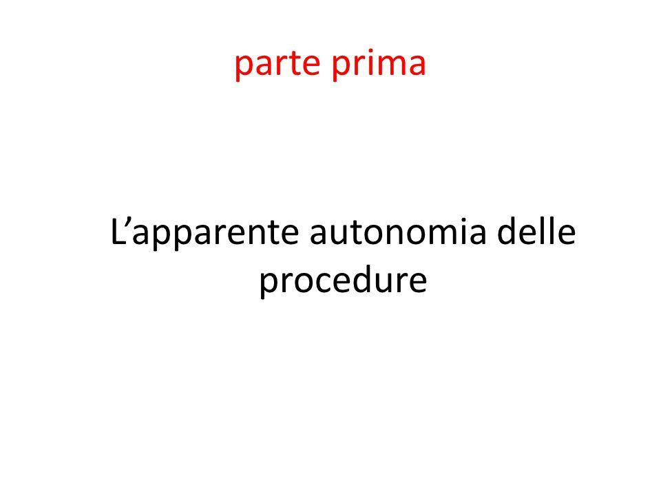 parte prima L'apparente autonomia delle procedure