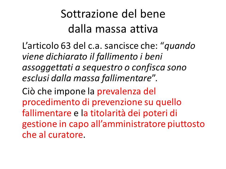 """Sottrazione del bene dalla massa attiva L'articolo 63 del c.a. sancisce che: """"quando viene dichiarato il fallimento i beni assoggettati a sequestro o"""