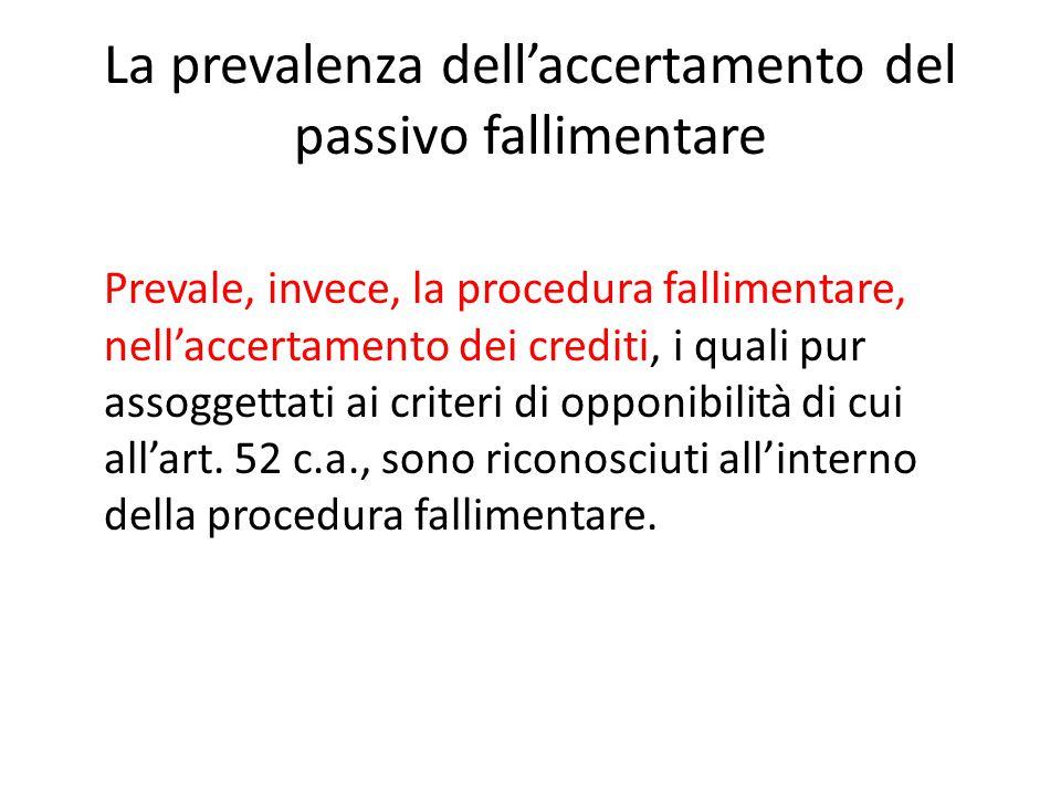 La prevalenza dell'accertamento del passivo fallimentare Prevale, invece, la procedura fallimentare, nell'accertamento dei crediti, i quali pur assogg