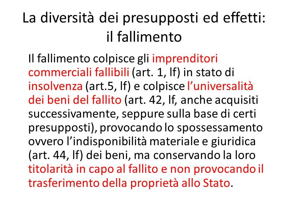 La diversità dei presupposti ed effetti: il fallimento Il fallimento colpisce gli imprenditori commerciali fallibili (art. 1, lf) in stato di insolven