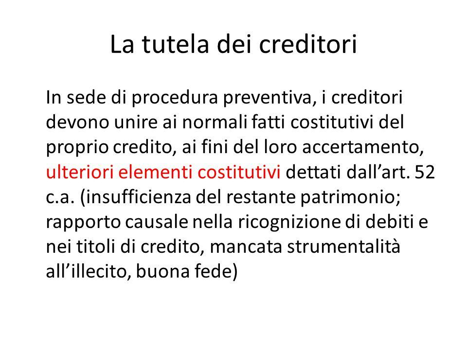 La tutela dei creditori In sede di procedura preventiva, i creditori devono unire ai normali fatti costitutivi del proprio credito, ai fini del loro a