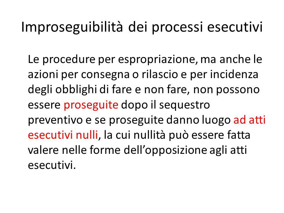 Improseguibilità dei processi esecutivi Le procedure per espropriazione, ma anche le azioni per consegna o rilascio e per incidenza degli obblighi di