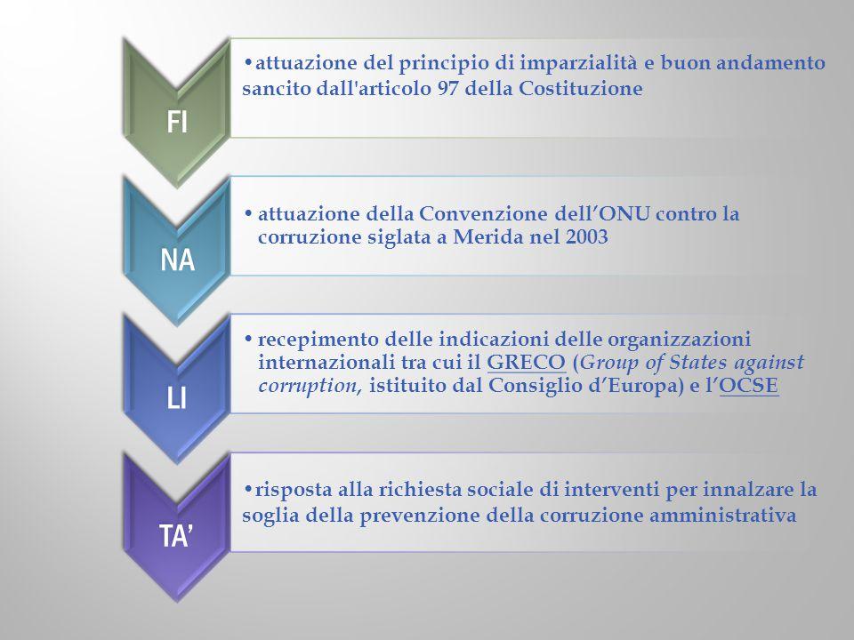 FI attuazione del principio di imparzialità e buon andamento sancito dall'articolo 97 della Costituzione NA attuazione della Convenzione dell'ONU cont
