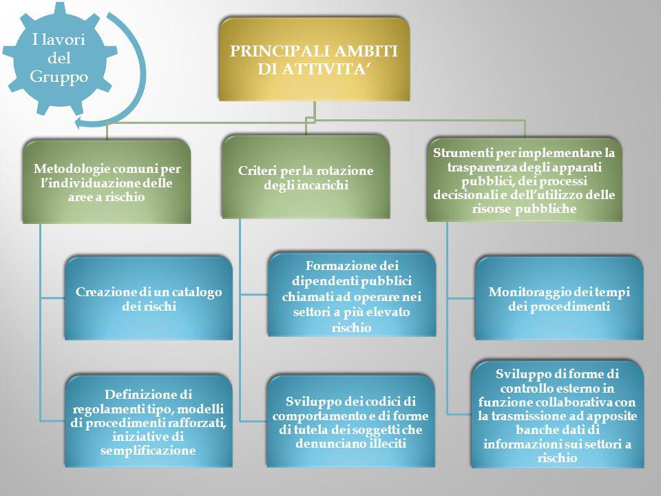 I lavori del Gruppo PRINCIPALI AMBITI DI ATTIVITA' Metodologie comuni per l'individuazione delle aree a rischio Creazione di un catalogo dei rischi De