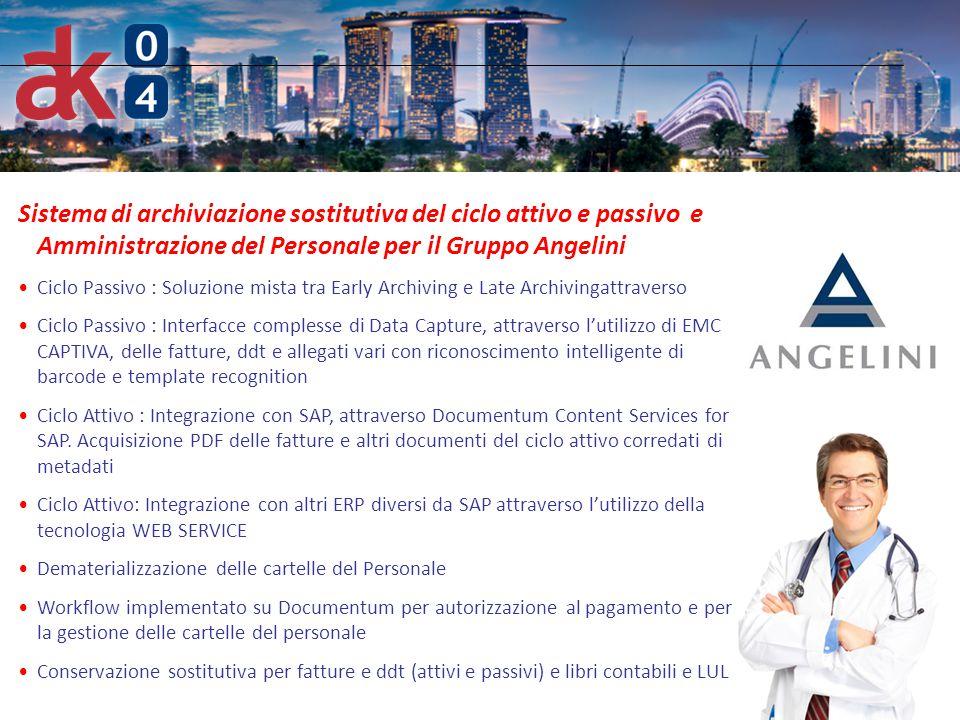 6 Sistema di archiviazione sostitutiva del ciclo attivo e passivo e Amministrazione del Personale per il Gruppo Angelini Ciclo Passivo : Soluzione mis