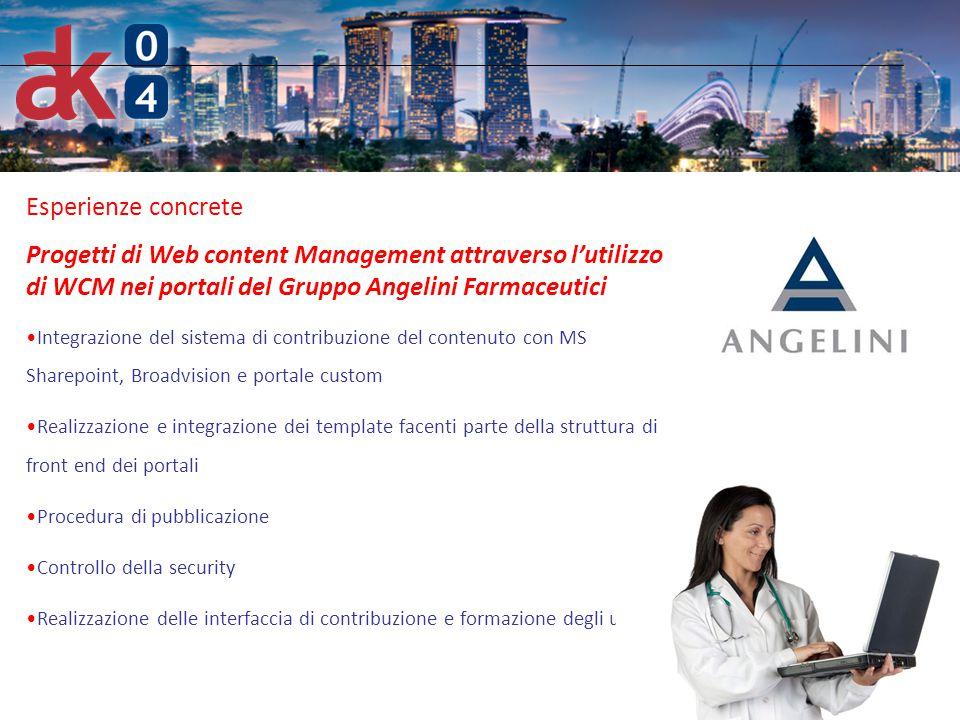 6 Esperienze concrete Progetti di Web content Management attraverso l'utilizzo di WCM nei portali del Gruppo Angelini Farmaceutici Integrazione del si