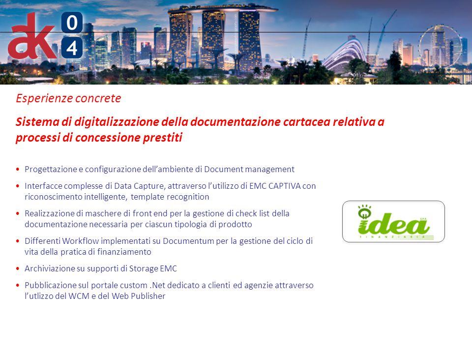 6 Esperienze concrete Sistema di digitalizzazione della documentazione cartacea relativa a processi di concessione prestiti Progettazione e configuraz