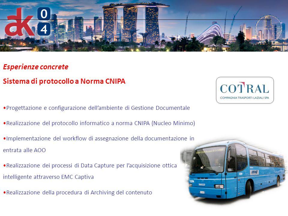 6 Esperienze concrete Sistema di protocollo a Norma CNIPA Progettazione e configurazione dell'ambiente di Gestione Documentale Realizzazione del proto