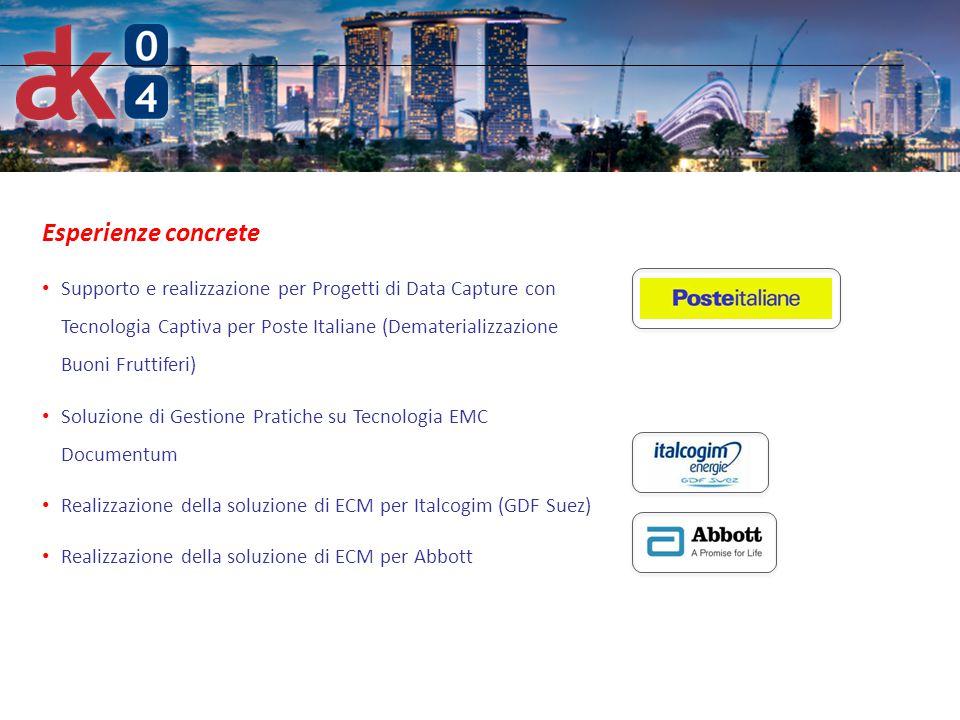 6 Esperienze concrete Supporto e realizzazione per Progetti di Data Capture con Tecnologia Captiva per Poste Italiane (Dematerializzazione Buoni Frutt
