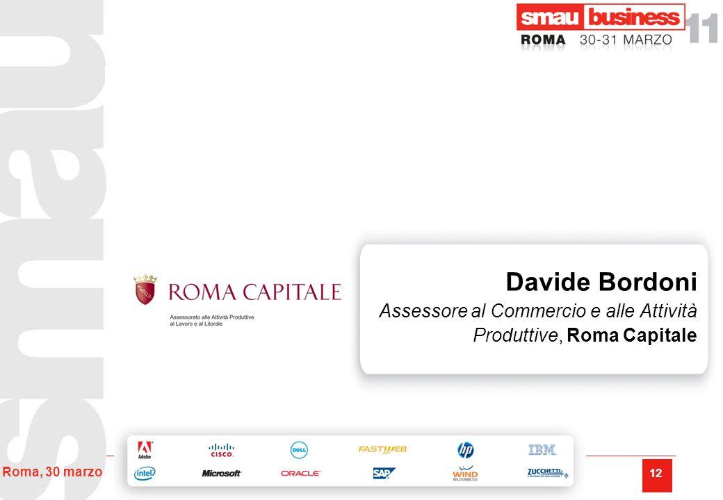 12 Roma, 30 marzo Davide Bordoni Assessore al Commercio e alle Attività Produttive, Roma Capitale