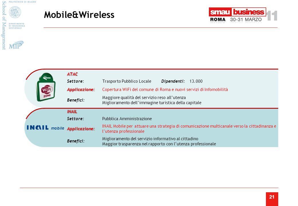 21 Mobile&Wireless INAIL Settore:Pubblica Amministrazione Applicazione: INAIL Mobile per attuare una strategia di comunicazione multicanale verso la cittadinanza e l'utenza professionale Benefici: Miglioramento del servizio informativo al cittadino Maggior trasparenza nel rapporto con l'utenza professionale ATAC Settore:Trasporto Pubblico LocaleDipendenti:13.000 Applicazione:Copertura WiFi del comune di Roma e nuovi servizi di Infomobilità Benefici: Maggiore qualità del servizio reso all'utenza Miglioramento dell'immagine turistica della capitale mobile