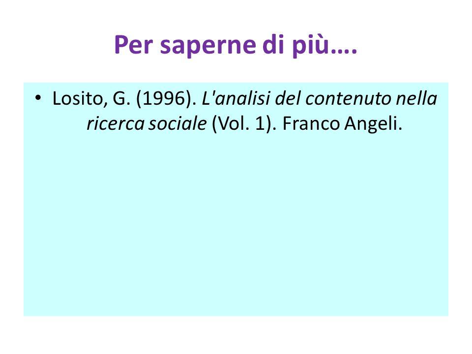 Per saperne di più…. Losito, G. (1996). L'analisi del contenuto nella ricerca sociale (Vol. 1). Franco Angeli.