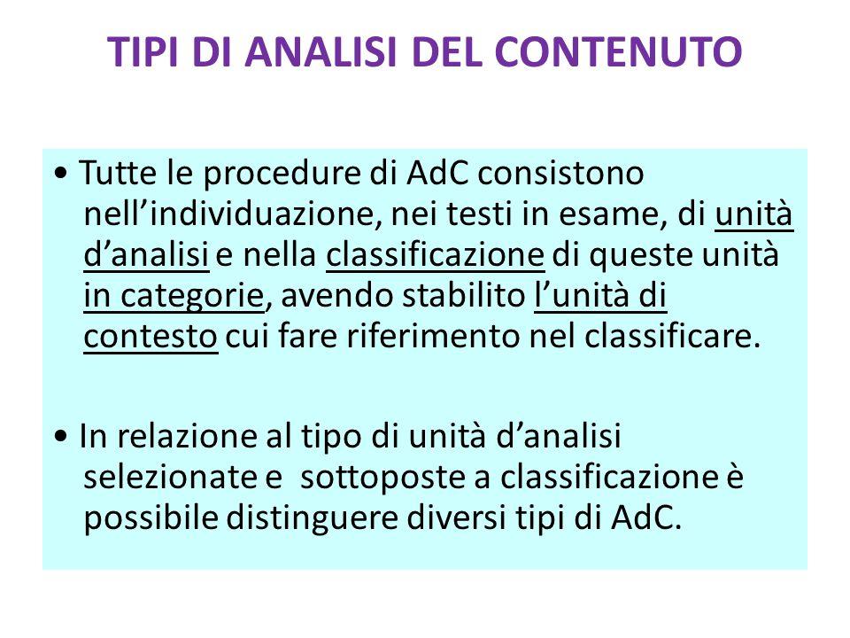 TIPI DI ANALISI DEL CONTENUTO Tutte le procedure di AdC consistono nell'individuazione, nei testi in esame, di unità d'analisi e nella classificazione di queste unità in categorie, avendo stabilito l'unità di contesto cui fare riferimento nel classificare.