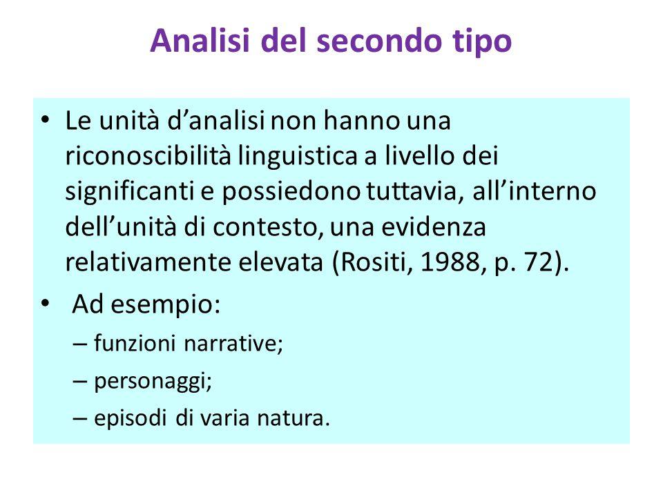 Analisi del secondo tipo Le unità d'analisi non hanno una riconoscibilità linguistica a livello dei significanti e possiedono tuttavia, all'interno dell'unità di contesto, una evidenza relativamente elevata (Rositi, 1988, p.