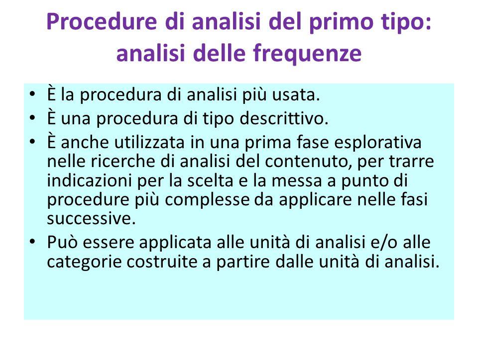 Procedure di analisi del primo tipo: analisi delle frequenze È la procedura di analisi più usata. È una procedura di tipo descrittivo. È anche utilizz