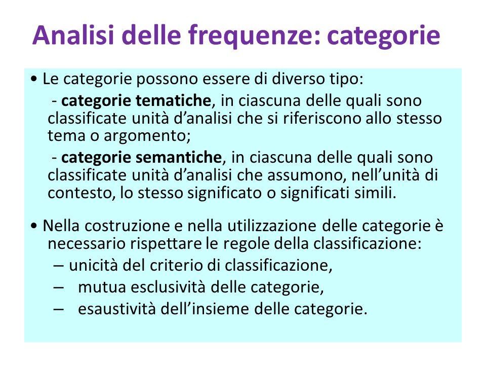 Analisi delle frequenze: categorie Le categorie possono essere di diverso tipo: - categorie tematiche, in ciascuna delle quali sono classificate unità d'analisi che si riferiscono allo stesso tema o argomento; - categorie semantiche, in ciascuna delle quali sono classificate unità d'analisi che assumono, nell'unità di contesto, lo stesso significato o significati simili.