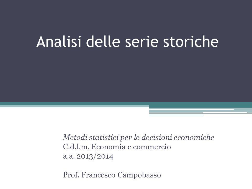 Analisi delle serie storiche Metodi statistici per le decisioni economiche C.d.l.m. Economia e commercio a.a. 2013/2014 Prof. Francesco Campobasso