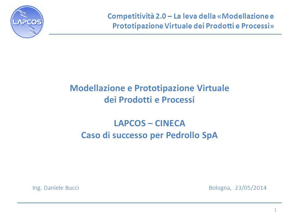 Competitività 2.0 – La leva della «Modellazione e Prototipazione Virtuale dei Prodotti e Processi» 1 Modellazione e Prototipazione Virtuale dei Prodotti e Processi LAPCOS – CINECA Caso di successo per Pedrollo SpA Ing.