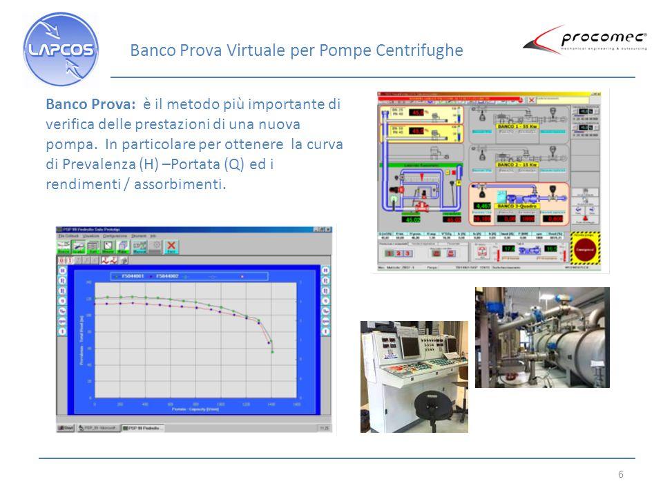 6 Banco Prova: è il metodo più importante di verifica delle prestazioni di una nuova pompa. In particolare per ottenere la curva di Prevalenza (H) –Po