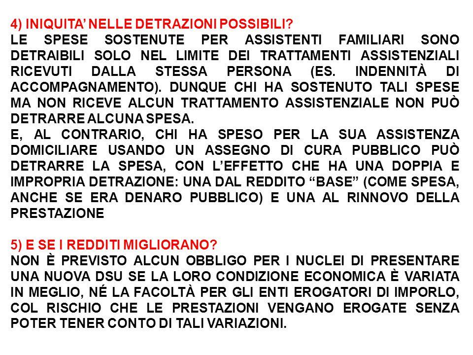 4) INIQUITA' NELLE DETRAZIONI POSSIBILI.