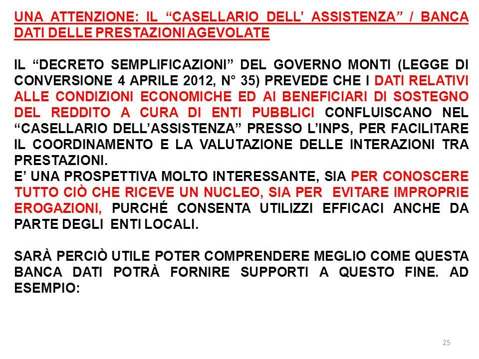 UNA ATTENZIONE: IL CASELLARIO DELL' ASSISTENZA / BANCA DATI DELLE PRESTAZIONI AGEVOLATE IL DECRETO SEMPLIFICAZIONI DEL GOVERNO MONTI (LEGGE DI CONVERSIONE 4 APRILE 2012, N° 35) PREVEDE CHE I DATI RELATIVI ALLE CONDIZIONI ECONOMICHE ED AI BENEFICIARI DI SOSTEGNO DEL REDDITO A CURA DI ENTI PUBBLICI CONFLUISCANO NEL CASELLARIO DELL'ASSISTENZA PRESSO L'INPS, PER FACILITARE IL COORDINAMENTO E LA VALUTAZIONE DELLE INTERAZIONI TRA PRESTAZIONI.
