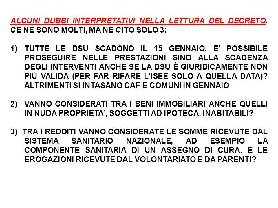 ALCUNI DUBBI INTERPRETATIVI NELLA LETTURA DEL DECRETO.